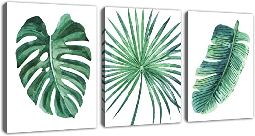 Tropical Leaves Watercolour Floral SINGLE CANVAS WALL ART Picture Print