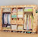 GL&G Wardrobe Closet Portable Oxford cloth Fabric Free Standing Storage Organizer – Portable, Detachable, and Lightweight Solid wood Clothing Closet Home finishing decoration Shelves,B,81''70''