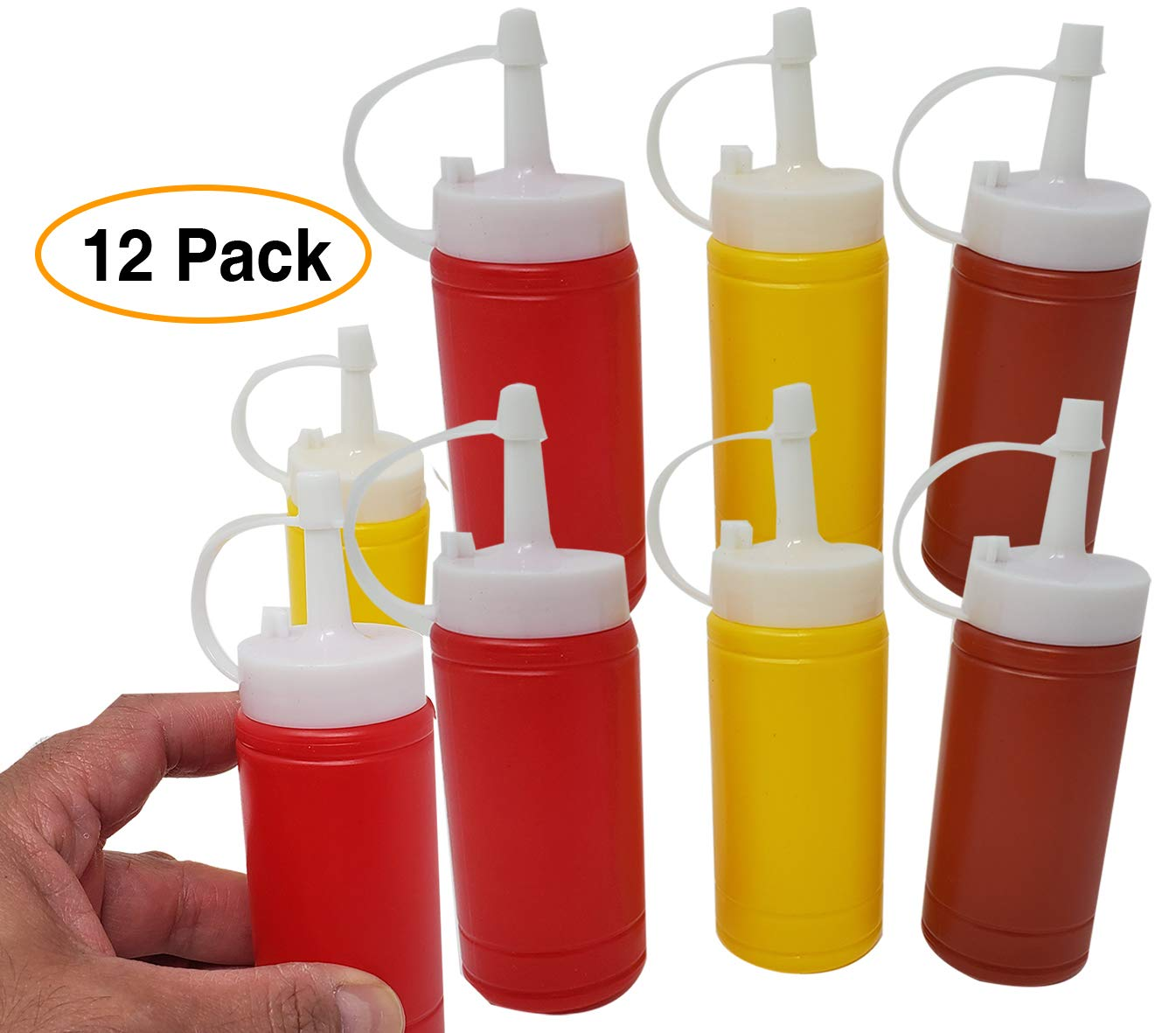 Mini Condiment Dispenser Set Ketchup, Mustard & BBQ sauce (12 bottles) squeeze bottles 6 Oz. by aaco (Image #1)