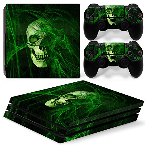 Pro Flames Stickers - OKFCUS Skull Flame Vinyl Decal Skin Sticker for PS4 Pro Console + 2 Controller Decal 4#