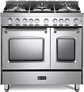 Verona Prestige Series VPFSGG365DSS 36 inch All Gas Range 5 Sealed Burners Double Oven Turbo Convection Stainless Steel