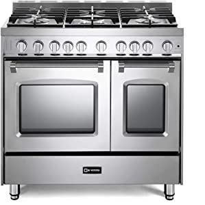 Verona Prestige VPFSGG365DSS 36 inch All Gas Range 5 Sealed Burners Double Oven Convection Storage Drawer Stainless Steel