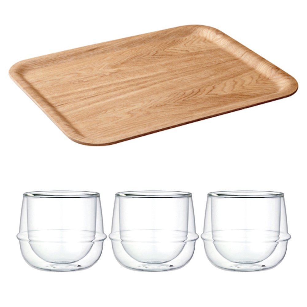 KINTO 17 inch Nonslip Rectangular Willow Tray and Three KRONOS Double Wall Glass Wine Glass, Set of 4