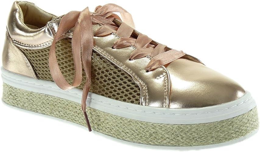 Angkorly Baskets Tennis Chaussure Satin Lacet 3 Corde Espadrille perforée Plat Femme CM Mode Plateforme Ruban Talon 5 0wOPnk8X