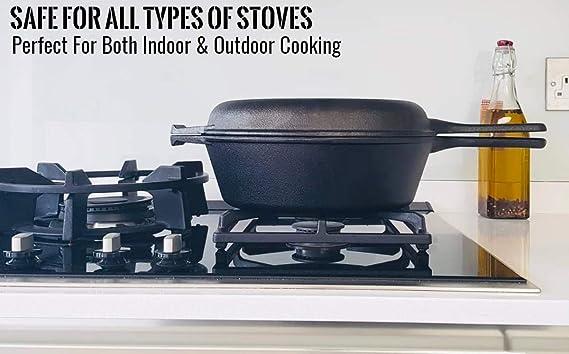 Pinnacle Cookware - Cocina de hierro fundido preestacionado, horno holandés con tapa de caldera, juego de utensilios de cocina, 3 litros/3,2 cuarto, ...