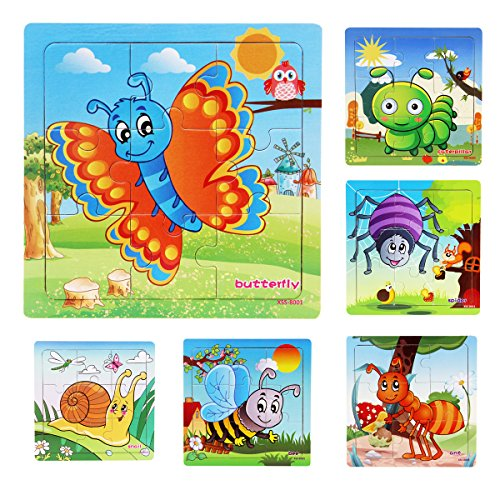 Muxihosn Wooden Jigsaw Puzzles with Storage Tray Insects Set Kids Toys Preschool Learning Game for 3-5 Years Old Child,Boys,Girls,Pack of 6(Butterfly,Caterpillar,Snail,Ant,Spider,Bee)