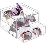 mDesign Organizador de gafas de sol y de leer con 2 cajones – Cajonera de plástico para guardar gafas – Guarda gafas ideal como joyero u organizador de maquillaje – transparente