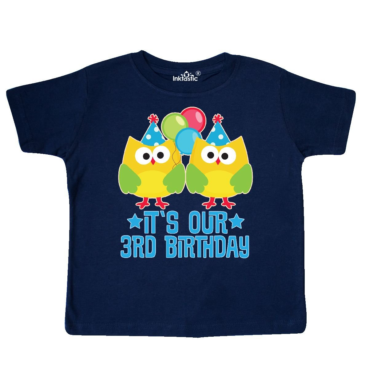 inktastic 3rd Birthday Twins Party Photo Owl Toddler T-Shirt