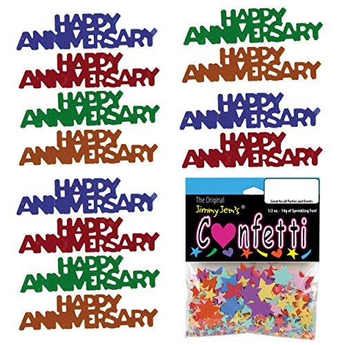 Confetti Word Happy Anniversary Multicolors - 4 Half Oz Bags (2 oz) (7862)