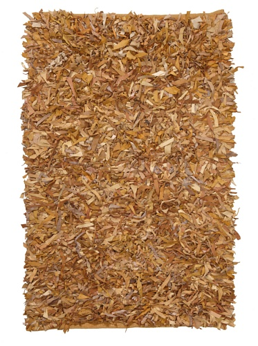 Safavieh Leather Shag Collection LSG511G Hand Woven Light Gold Leather Area Rug (3' x ()