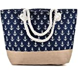 Arrow Large Canvas Shoulder Bag - Beach Tote with Cotton Rope Handles