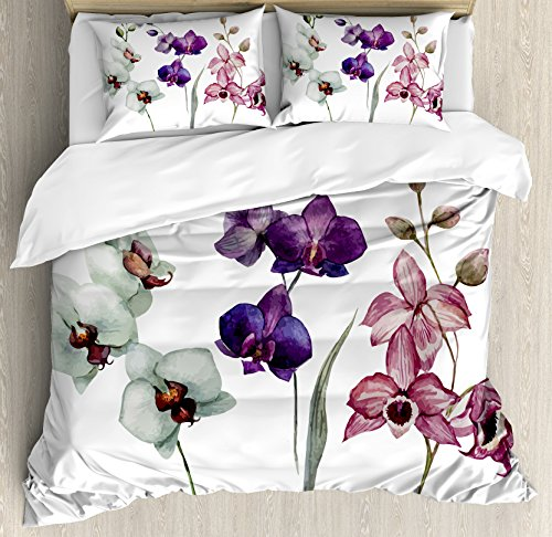 (Watercolor Flower Duvet Cover Set by Ambesonne, Different Kind of Orchid Flower on Clear Background Exotic Blossoms Art, 3 Piece Bedding Set with Pillow Shams, King Size, White Pink)