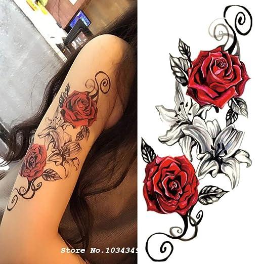 Handaxian 3pcs Acuarela de la Flor del Hombro del Cuerpo Tatuaje ...