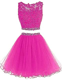 dd31e1ea2f Dydsz Women s Prom Dress Short Homecoming Party Dresses 2 Piece Beaded  Cocktail Gown D127