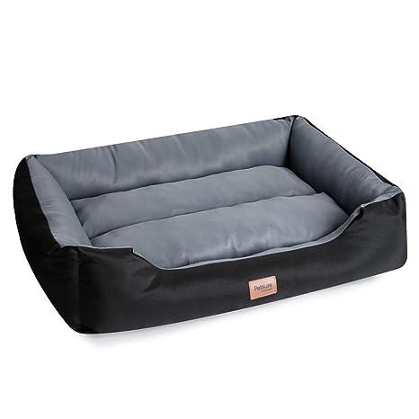 Bedsure Cama para Perros Pequeños Impermeable(71x58x20cm) - Colchón Perro Desenfundable Lavable Reversible - Negro/Gris,M