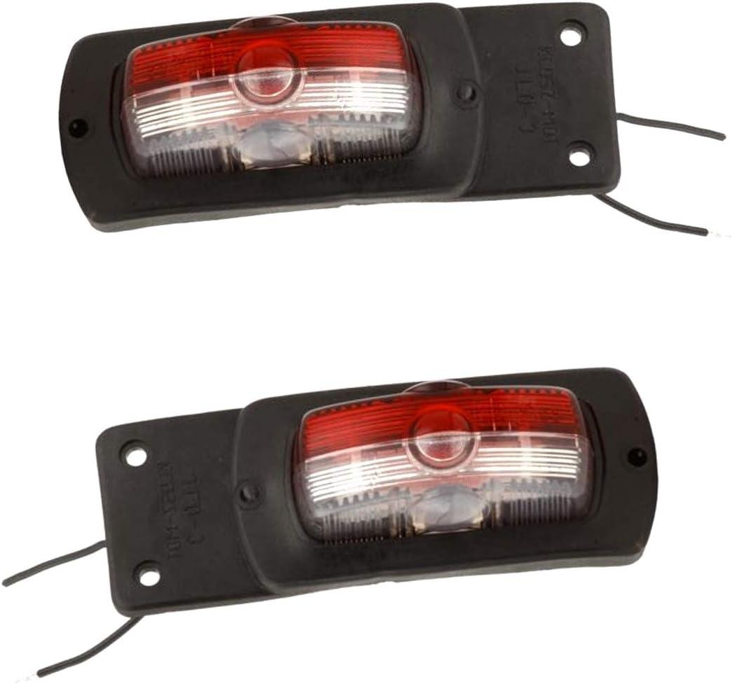 2x Positionsleuchten Rot Weiss E20 Begrenzungsleuchte 12v Umrissleuchte Anhänger Auto