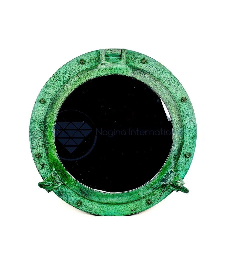20'' Shipwrecked Premium Aluminum Antique Algae Green Porthole Mirror | Retirement Gift | Nagina International by Nagina International (Image #1)