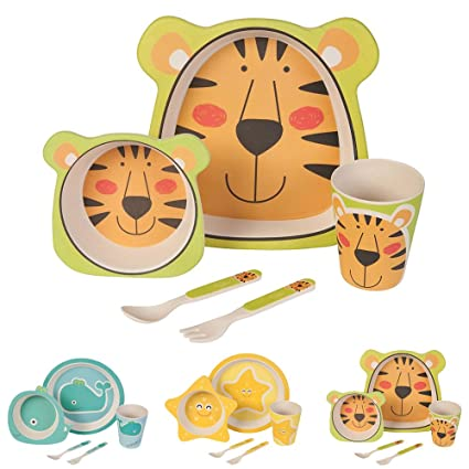 Brilliant Bamboo Eco Baby Bowl Spoon Fork Set Tiger Bowls & Plates