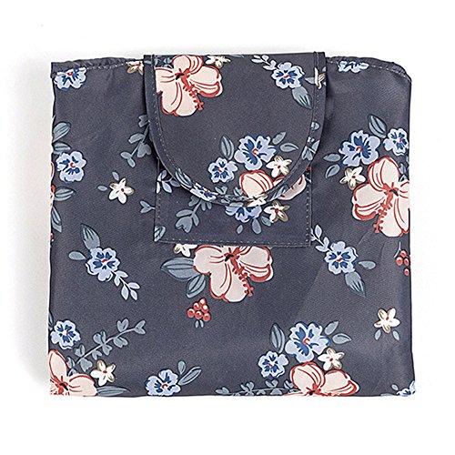Fashion Cosmetic Bag Large Capacity Lazy Makeup Waterproof Toiletry Bag Multifunction Storage Portable Quick Pack Travel Bag (Dark Grey Flowers) by VOJUAN (Image #1)
