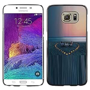 FECELL CITY // Duro Aluminio Pegatina PC Caso decorativo Funda Carcasa de Protección para Samsung Galaxy S6 SM-G920 // Beach Evening Sunset Sea