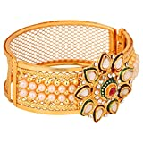 Efulgenz Indian Traditional Bollywood Handcrafted White Red Green Rhinestone Faux Ruby Emerald 18 K Gold Plated Hinged Cuff Bracelet Bangle Bridal Designer Jewelry for Women and Girls