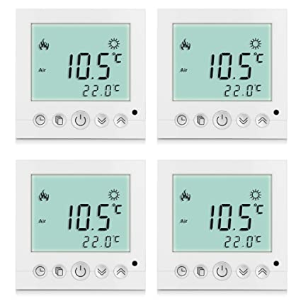 Excelvan - Pack de 4 Termostatos digitales de pared (lectura de temperatura, LCD display