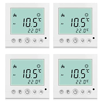 Excelvan - Pack de 4 Termostatos digitales de pared (lectura de temperatura, LCD display con programador semanal), Pantalla blanca: Amazon.es: Hogar