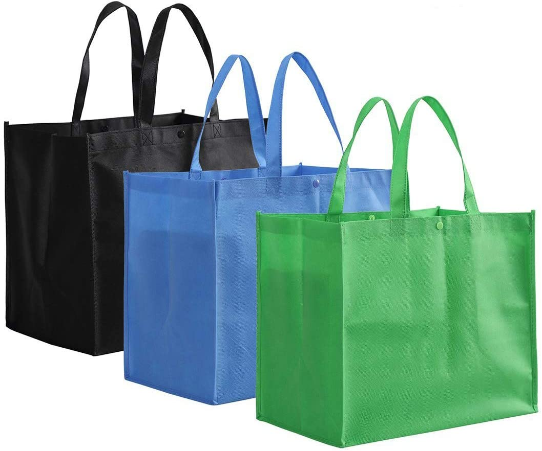 Tosnail 12 Pack Large Foldable Reusable Grocery Tote Bags Shopping Bags - Black, Blue, Green