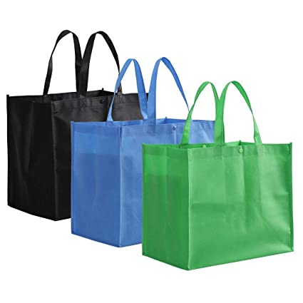 4f644a8760 Amazon.com: Tosnail Large Reusable Handle Grocery Tote Bag Shopping Bags -  12 Pack in 3 Colors: Kitchen & Dining