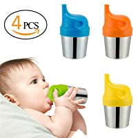 Biubee 4 pack Stainless Steel Sippy Cups with 4 pcs Silicone Sippy Lids - 6 oz Double Wall Insulated Cups & BPA FREE Silicone Lids for Home & Outdoor Activities