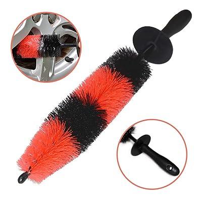 YISHARRY LI Wheel Brush, Soft Bristle Long Master Car Rim Brush Easy Reach Tire Detailing Brush Washing Brush use for Tire, Rim, Engine, Motorcycle: Automotive