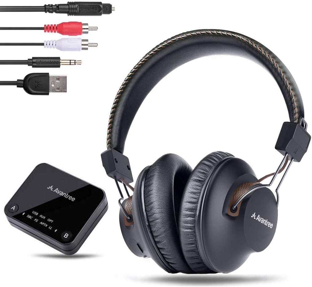 Avantree HT4189 Wireless Headphones for TV Watching with Bluetooth Transmitter Digital OPTICAL AUX RCA PC USB , Wireless Hearing Headset 40 Hours Battery, Plug n Play, No Audio Delay, 100ft Range