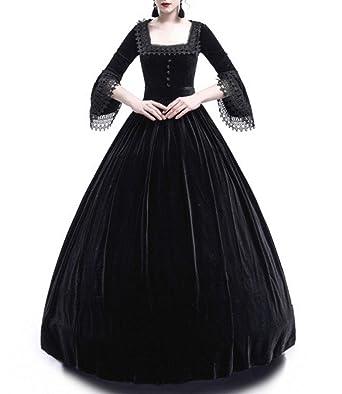 406c41e6a Primavera y Otoño Medieval Renacimiento Disfraz de Reina Elegante Vintage  Cuello Cuadrado Cuerno Manga Vestido Mujer Moda Hermoso Encaje Costura Maxi  ...