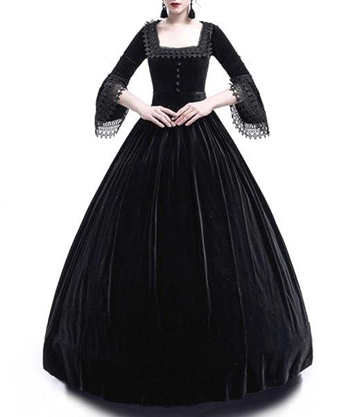 Primavera y Otoño Medieval Renacimiento Disfraz de Reina Elegante Vintage Cuello Cuadrado Cuerno Manga Vestido Mujer
