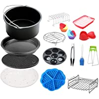 Air Fryer Accessories Non-stick Pizza Cake Pan Cupcake Tray Rack 8inch Universal Baking Tools Set 15pcs Cake Supplies