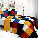 [Poker?King] 3PC Vermicelli-Quilted Patchwork Quilt Set (Full/Queen Size)