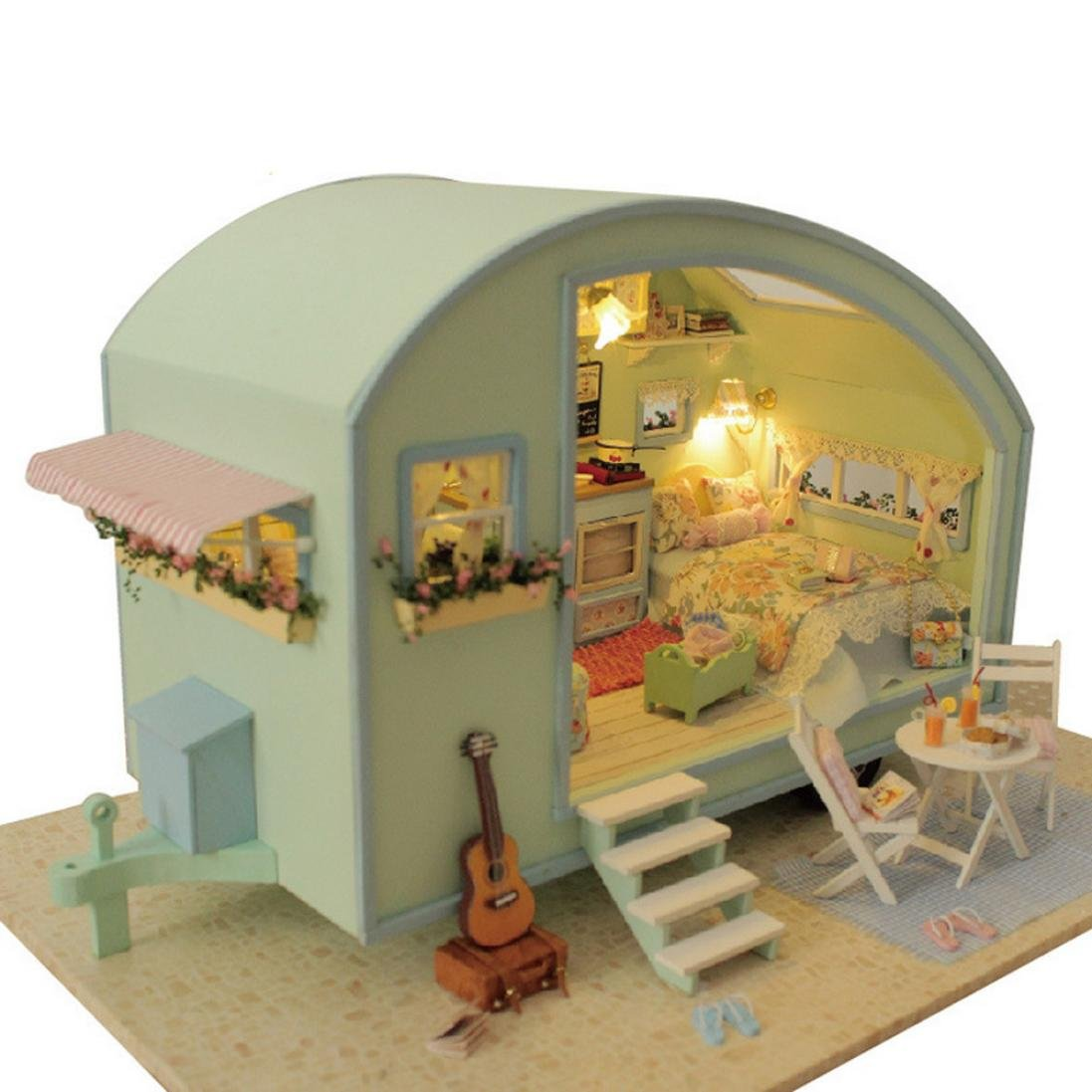 DIY 3D Wooden Dollhouse Miniature Furniture Kit Doll House Motor Home LED+Music--Time Traval, Festive Christmas Birthday Gift, Educational Toy Set