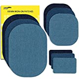 jeans repair kit - ZEFFFKA Premium Quality Denim Iron On Jean Patches No-Sew Shades of Blue 9 Pieces Assorted Cotton Jeans Repair Kit Different Sizes