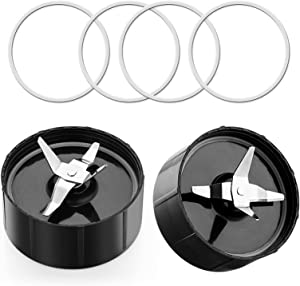GREENSPLIT Magic Bullet Replacement Parts 2 Cross Blades & 4 Rubber Rings Food Processor Blade Fits 250W Magic Bullet Blender Magic bullet Gasket Set (2 Pack)