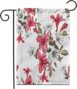 """Adowyee 28""""x 40"""" Garden Flag Colorful Botanical Floral Watercolor Daylilies and Datura Flower Red Outdoor Double Sided Decorative House Yard Flags"""