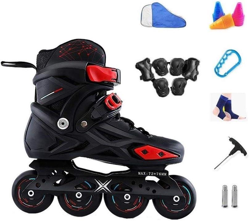 XDSAインラインスケート インラインスケート、男性と女性の単列スケート、成人初心者スケート、初心者、男性と女性のローラースケート、黒と白 (Color : 黒, Size : 43 EU)