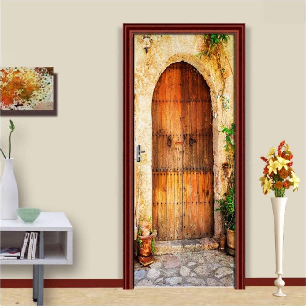 CFLEGEND PVC pegatinas autoadhesivas para puertas Puerta de madera retro en 3D a través de la puerta corrediza empapelado de la sala de estar dormitorio pegatinas de pared Decorativos 77X200 cm: Amazon.es: