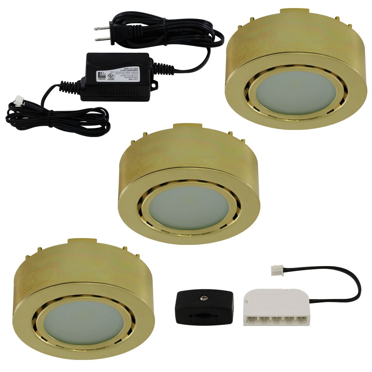 liteline ucp led3 pb led three light puck kit 12v polished brass