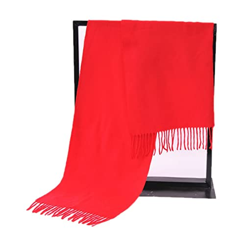 Mujeres ROJO Lujo Lujo Color Sólido Bufanda