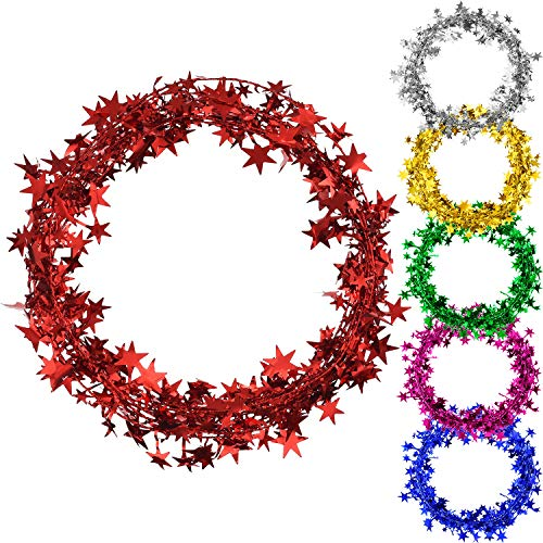 Shappy Assort Color Small Star Garland Wired Garland, 6 Colors 6 Rolls, 7.5 Meters Each Roll ()