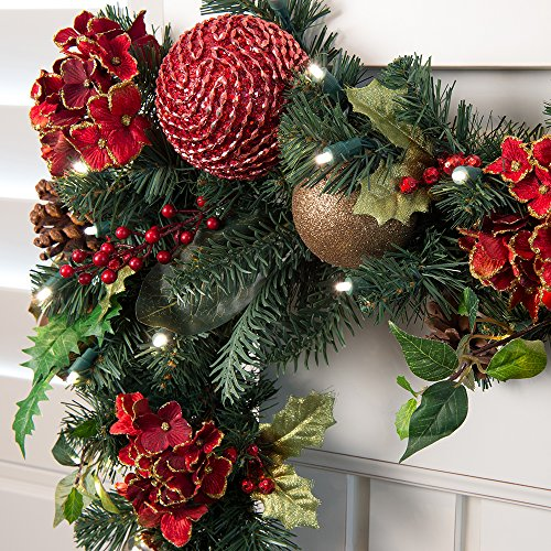Scarlet Hydrangea 9' Pre-Lit Decorated Garland by VILLAGE LIGHTING COMPANY (Image #1)