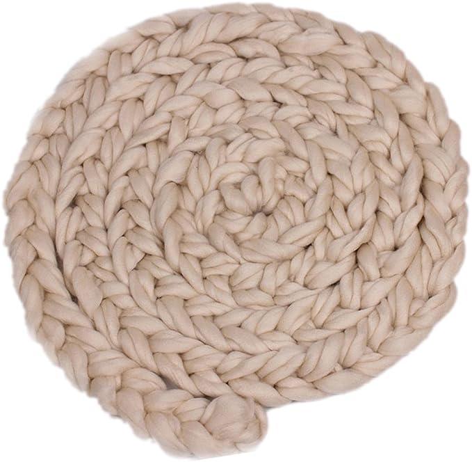 Neugeborene Baby-Roving Braid Wolle Spinnen Faser-Teppiche Fotografie Props Blau