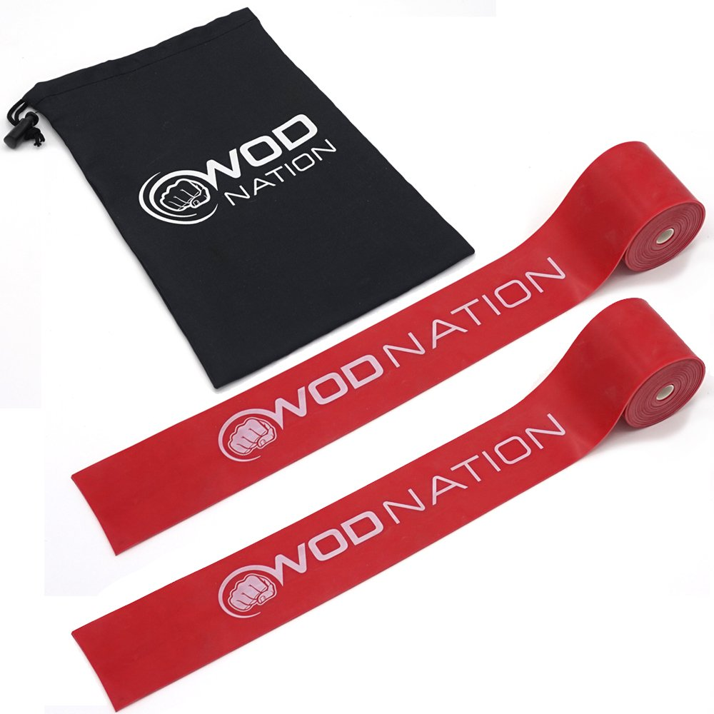 WOD Nation Muscle Floss Bands Recovery Band for Tack and Flossing Sore Muscles and Increasing Mobility - Stretch Band Includes Carrying Case (2 Red - Medium Strength)