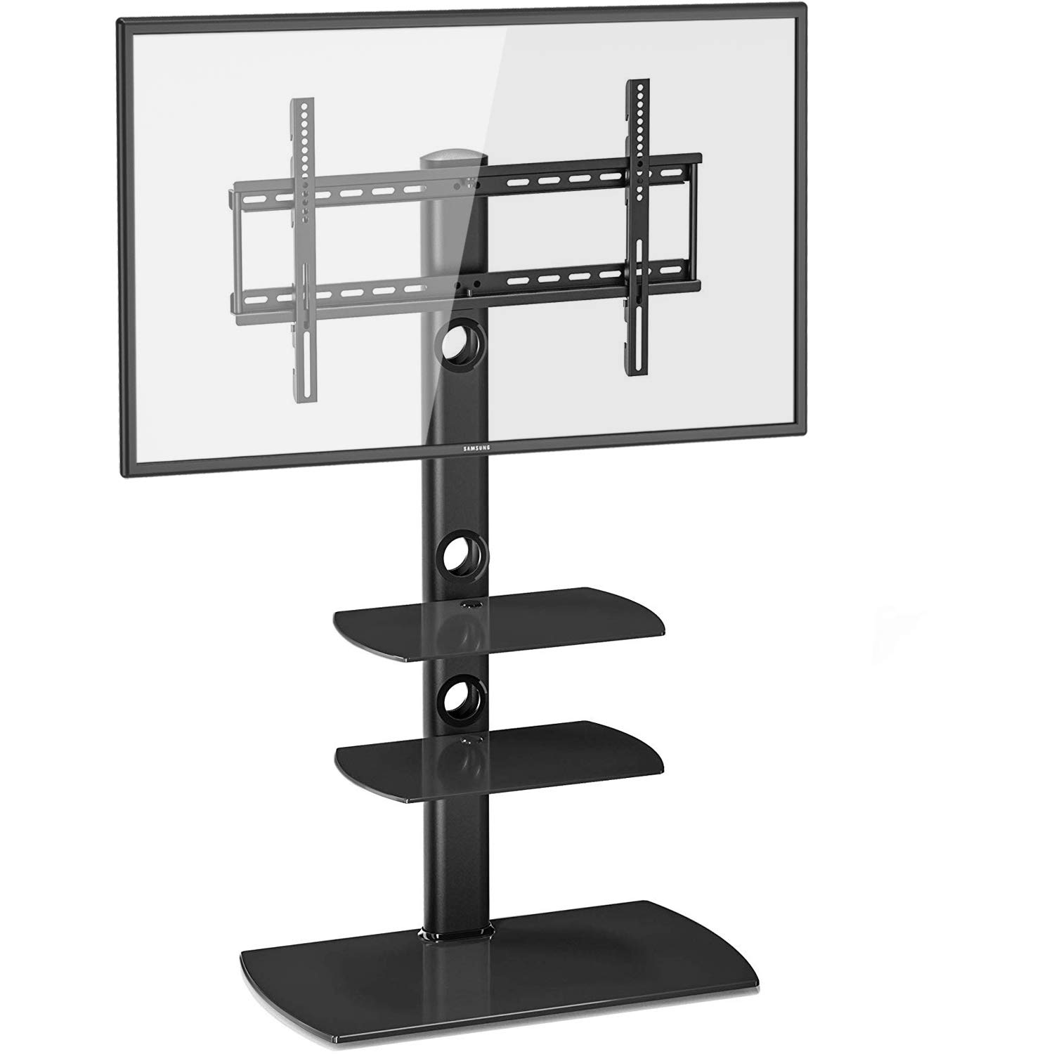 Fitueyes Floor TV Stand with Swivel Mount Height Adjustable Bracket VESA Patterns up to 600mm x 400mm for 32 to 65 inch LCD, LED OLED TVs TT306501GB