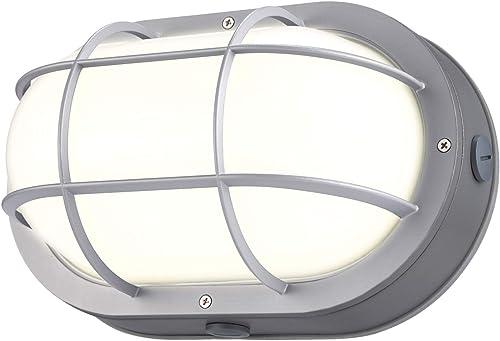 LEONLITE 10W LED Bulkhead Light, 12 Inch Marine Oval Outdoor Wall Lights, ETL Energy Star Listed, 80W Eqv. Flush Mount Ceiling Lighting, 3000K Warm White, 700lm